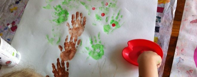 Apple Tree Handprint Paintings